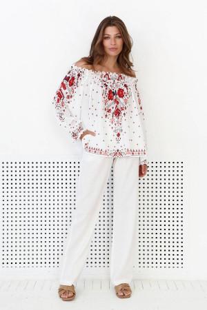 Блуза «Бритта» молочного цвета с цветочным принтом