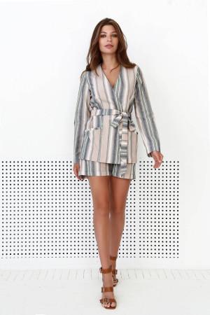 Пиджак «Сюзанна» бежевого цвета с принтом-полосками