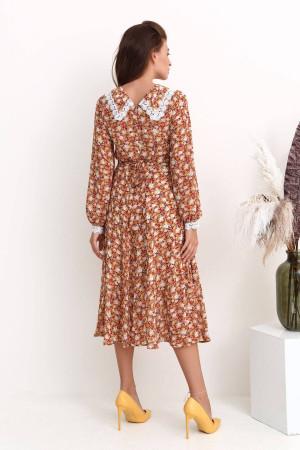Сукня «Елінор» теракотового кольору з принтом