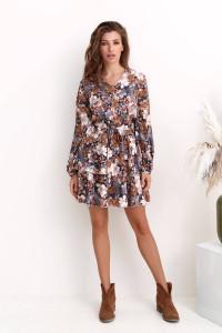 Платье «Мейбл» серого цвета с принтом