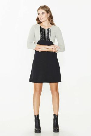 Платье «Дария» черного цвета с бежевым