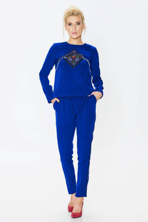 Брючний костюм «Агафія» кольору електрик – з орнаментом e70e8e4ec0402