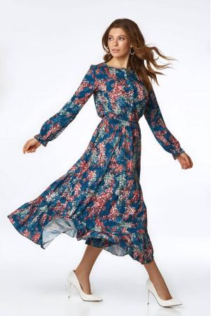 Платье «Уиннон» синего цвета с принтом