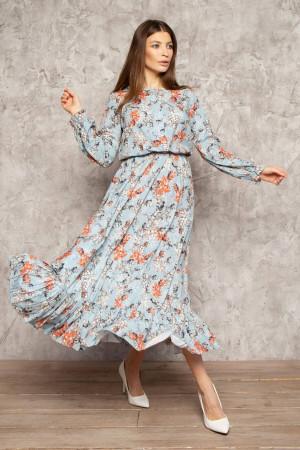 Платье «Уиннон» голубого цвета с принтом