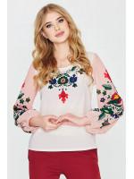 Блуза «Наталка» біла з рожевим
