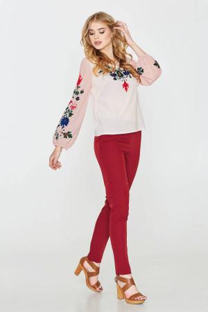 Блуза «Наталка» белая с розовым