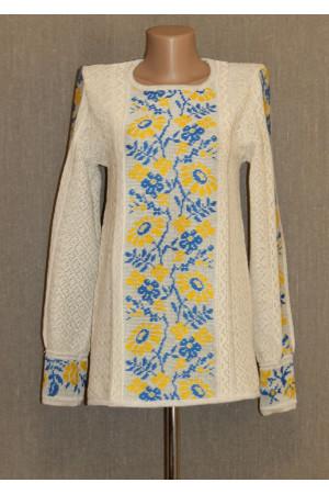 """Вязаная вышиванка """"Ромашка"""" с сине-желтым орнаментом"""
