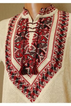 Вязаная вышиванка «Полуботок» с коротким рукавом