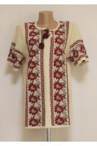 В'язана вишиванка «Жоржини» з коротким рукавом