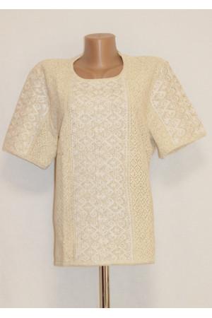 В'язана вишиванка «Маруся» бежевого кольору з коротким рукавом