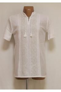 В'язана вишиванка «Назар» білого кольору з коротким рукавом