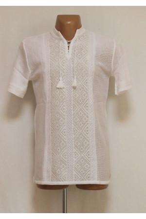 Вязаная вышиванка «Назар» белого цвета с коротким рукавом