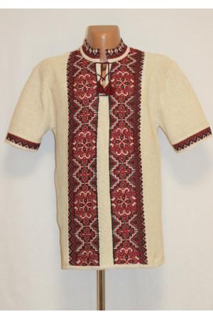 Вязаная вышиванка «Влад» с красным орнаментом и коротким рукавом