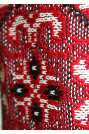 В'язана вишиванка «Влад» з червоним орнаментом та коротким рукавом