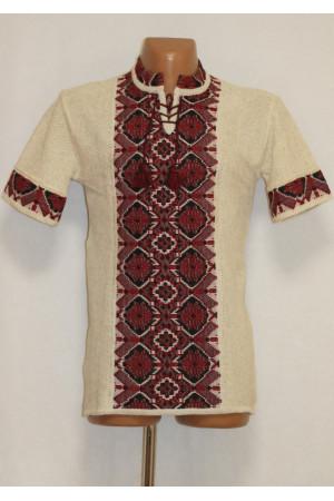 Вязаная вышиванка «Арсен» с коротким рукавом
