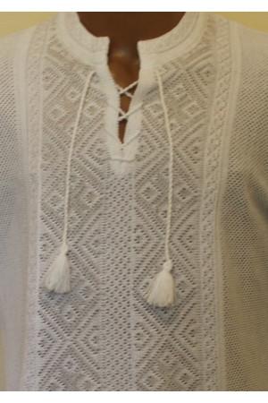 В'язана вишиванка для хлопчика «Назар» білого кольору
