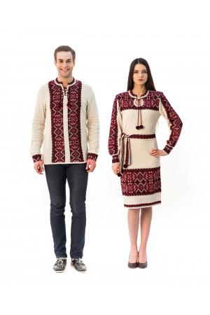 Семейный комплект «Вертеп»: женское вязаное платье и мужская вязаная вышиванка, с красным орнаментом