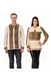 Сімейний комплект «Вертеп»: жіноча та чоловіча в'язані вишиванки, з коричневим орнаментом