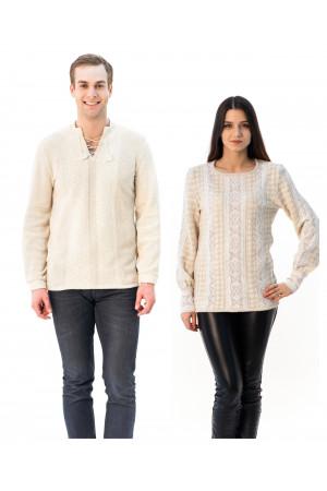 Семейный комплект «Полесье»: женская и мужская вязаные вышиванки