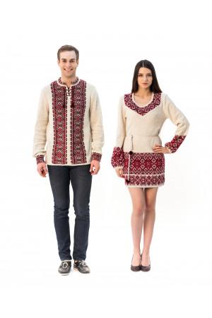 Семейный комплект «Слобода»: женская вязаная туника и мужская вязаная вышиванка, с красным орнаментом