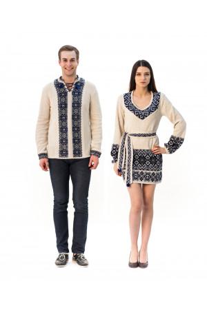 Семейный комплект «Слобода»: женская вязаная туника и мужская вязаная вышиванка, с серо-голубым орнаментом