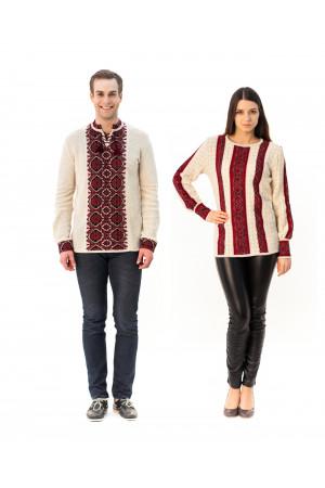Семейный комплект «Поднепровье»: женская и мужская вязаные вышиванки
