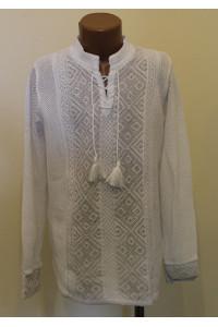 Вязаная вышиванка «Назар» белого цвета с длинными рукавами