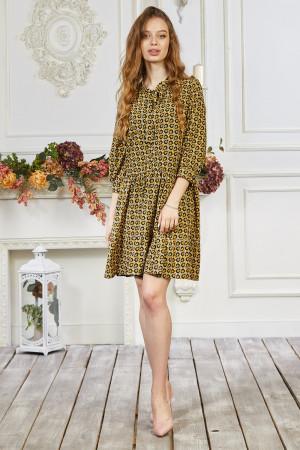 Сукня «Байрон» гірчичного кольору з геометричним принтом