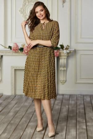 Сукня «Аріса» гірчичного кольору з принтом