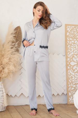 Пижамная рубашка «Долорес» серо-голубого цвета