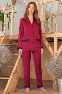 Пижамная рубашка «Долорес» цвета бордо