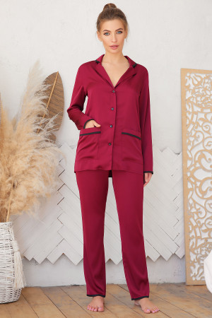 Пижамная рубашка «Зоряна» цвета бордо
