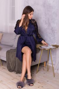 Халат «Хадия» синего цвета