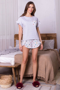 Пижама «Лиэль» серого цвета в разноцветные сердечка