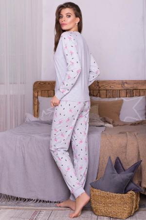 Пижама «Амаль» серого цвета с фламинго