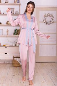 Домашній комплект «Ребекка» кольору пудри з сіро-блакитним