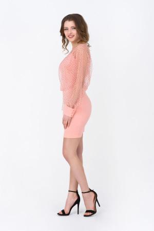 Сукня «Фльор» персикового кольору з синім