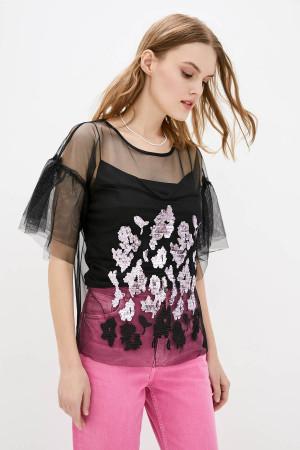 Блуза «Мілліна» чорного кольору з рожевим