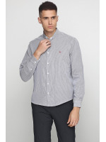 Мужская рубашка «Люк» белого цвета в черную полоску