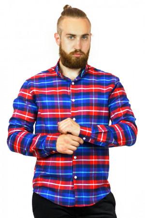 Чоловіча сорочка «Петер» синя клітинка