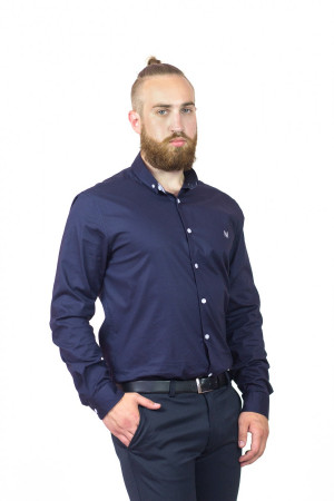 Мужская рубашка «Траст» темно-синего цвета