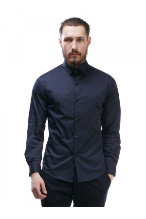Чоловіча сорочка «Дакт» синього кольору з вишивкою