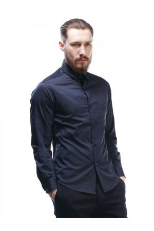 Мужская рубашка «Дакт» синего цвета с вышивкой