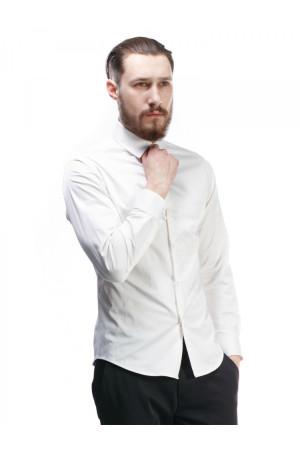 Мужская рубашка «Дакт» белого цвета с вышивкой