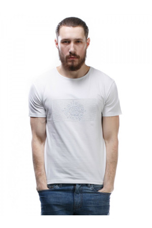 Футболка мужская «Босс» белого цвета с вышивкой