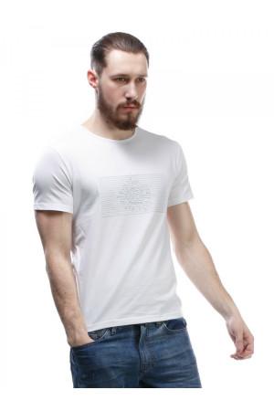 Футболка чоловіча «Босс» білого кольору з вишивкою