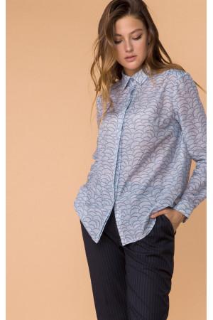 Шелковая рубашка «Леванта» голубого цвета