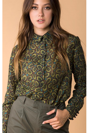 Шовкова сорочка «Іветта» зеленого кольору