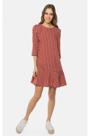 Сукня «Гарнет» коричневого кольору в горошок