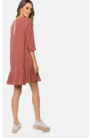 Платье «Гарнет» коричневого цвета в горошек